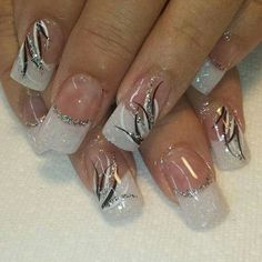 Black white and silver - Nails Silver Nail Designs, Valentine's Day Nail Designs, Classy Nail Designs, French Nail Designs, Black And White Nail Designs, Nail French, Pedicure Designs, Classy Nails, Fancy Nails
