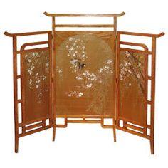 Meiji Three Panel Silk & Hardwood Floor Screen, Circa 1910 thumbnail 1
