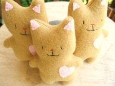 small stuffed animal cat fleece plush tiny micro toy child friendly. $14.00, via Etsy.