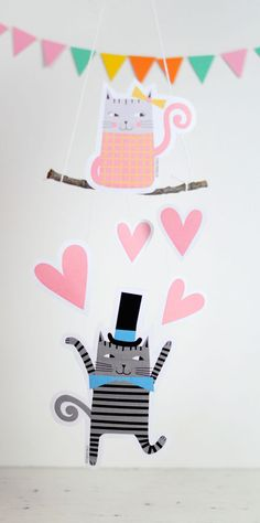 kittens paper mobile printable for st valentines day in pink and gray DIY - by PinkNounou