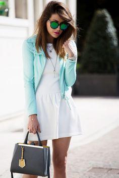 Vestito bianco e verde jeans