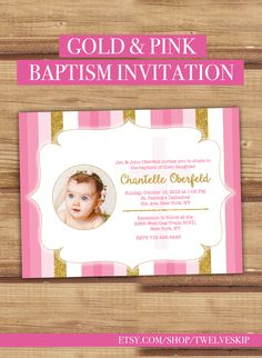 Pink & Gold Baptism Invitation For a Girl. Click the PIN to purchase now…