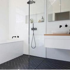 Wet Room Set Up Bath In Shower Area Bathroom Renovations Perth Shower Niche Shower Recess Black and White Tiny Bathroom 7 Amazing Black and White Bathroom Cozy Decoration! Find ideas for Bathroom with many of inspiring photos from design professionals. Wet Room Bathroom, Diy Bathroom Decor, Bathroom Renos, Bathroom Layout, Simple Bathroom, White Bathroom, Bathroom Interior Design, Bathroom Ideas, Bathroom Niche