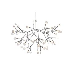 """Designed by Bertjan Pot, the Moooi Heracleum II Suspension is a decorative LED fixture inspired by the Heracleum plant. Here, the """"leaves"""" are 63 polycarbonate lenses, which reflect the light of 63 internal LEDs. The branch-like frame is made of metal wir Kitchen Pendant Lighting, Kitchen Pendants, Pendant Lamp, Light Pendant, Contemporary Pendant Lights, Modern Chandelier, Sputnik Chandelier, Chandeliers, Interior Lighting"""
