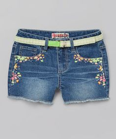 This Medium Denim Neon Embroidered Belted Shorts - Girls by Squeeze is perfect! #zulilyfinds