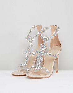 Find the best selection of Public Desire Ziggy Embellished Heeled Sandals. Shop today with free delivery and returns (Ts&Cs apply) with ASOS! Fancy Shoes, Pretty Shoes, Beautiful Shoes, Cute Shoes, Bridal Heels, Wedding Shoes Heels, Bride Shoes, Prom Shoes Silver, Prom Heels