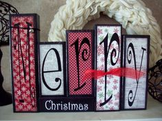 Decorate your mantle or table with this fun Merry Christmas block set. These blocks are made to order as seen in the pictures above. Embellishments