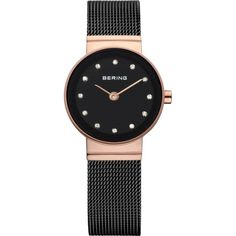 Bering Time - Classic - Ladies Black Milanese Mesh Watch w/ Swarovski... ($179) ❤ liked on Polyvore featuring jewelry, watches, swarovski crystals jewelry, swarovski crystal jewelry, swarovski crystal jewellery, black face watches and mesh watches