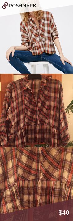 Free People Plaid Peplum Button Up Shirt Free People Plaid Peplum Button Up Shirt. Worn once. Perfect condition. Wool blend. Perfect for fall/winter. No longer sold online or in stores. Size L Free People Tops Button Down Shirts