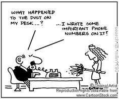 Clean Desk funny cartoons from CartoonStock directory - the world's largest on-line collection of cartoons and comics. Clean Desk, Funny Cartoons, Cleaning, Shit Happens, Writing, Comics, Memes, Quotes, Clear Desk