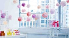 DIY Tulle poof garland tutorial for princess parties or...just for fun.