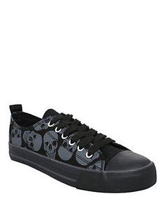 Skulls Low Top Sneakers, BLACK