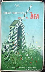 1951 ULTRA RARE BEA Iron Curtain Berlin Original Vintage Travel Airline Poster