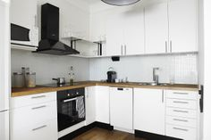 black and white kitchen, timber benchtop