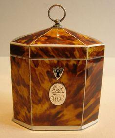 antique English tortoise box