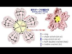 桜モチーフの編み図【Knitting cherry blossom】 - YouTube