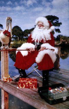 Santa Claus fishing in Sarasota, Florida State Archives of Florida, Florida Memory, Joseph Janney Steinmetz > Florida Girl, Old Florida, Vintage Florida, Sarasota Florida, Florida Style, Florida Living, Tropical Christmas, Coastal Christmas, Retro Christmas