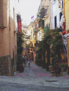 Street In Collioure Cross Stitch Pattern by Avalon Cross Stitch on Etsy