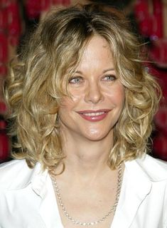 Medium Curly Hairstyles With Bangs | Meg Ryan's pretty, bouncy curls are desk-to-dinner perfection. Get the ...