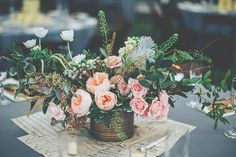floral centerpieces - photo by Papered Heart Photography http://ruffledblog.com/brooksville-florida-wedding