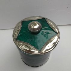 Vintage SAFI Moroccan Pottery Jar Applied Silver Star Green Malachite  offered by rubylane shop Saltymaggie's Treasures