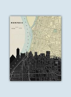 Memphis Skyline Personalized Skyline Print by GeographicArt