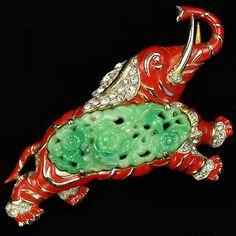 Trifari 'Alfred Philippe' Jade Ming Elephant Pin