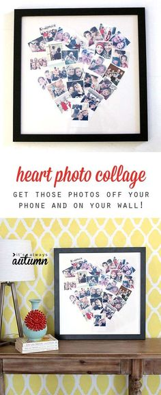 Cool DIY Photo Projects and Craft Ideas for Photos - Heart Photo Display - Easy Ideas for Wall Art, Collage and DIY Gifts for Friends. Wood, Cardboard, Canvas, Instagram Art and Frames. Creative Birthday Ideas and Home Decor for Adults, Teens and Tweens