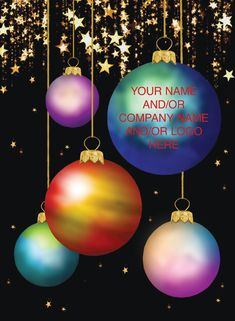 christmas baubles on card Corporate Christmas Cards, Charity Christmas Cards, Personalised Christmas Cards, Christmas Greetings, Colour Contrast, Christmas Baubles, Gold Stars, Greeting Cards, Shades