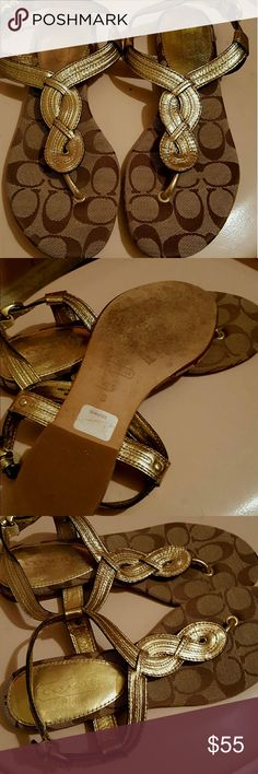 "Gorgeous coach sandals Gold sandals. Gold brauded in front. Wraps around heel with buckle to close. Worn once in excellent condition. 3/4"" heel Coach Shoes Sandals"