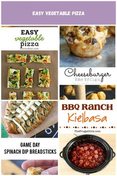 Easy Vegetable Pizza great for an afternoon or even a party! Super easy and YUMMY! via Football Party food Easy Vegetable Pizza Easy Party Food, Kielbasa, Spinach Dip, Book And Magazine, Magazine Design, Vegetable Pizza, Super Easy, Bbq, Football