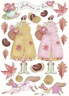 foxes - With the arrival of rains and falling temperatures autumn is a perfect opportunity to make new plantations Scrapbook Paper, Scrapbooking, Paper Art, Paper Crafts, Sticker Paper, Stickers, Soft Dolls, Collage Sheet, Paper Dolls