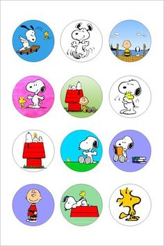 Snoopy Digital 1 inch Collage Sheet for Scrapbooking, Cupcake Toppers, Bottle Cap Images and