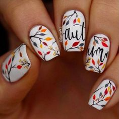 Fall Nails: 12 Fabulous Nail Art Ideas to Try This Weekend Herbst Nageldesign Nail Design Spring, Fall Nail Art Designs, Cute Nail Designs, Nails Design Autumn, Thanksgiving Nail Art, Thanksgiving Ideas, Gel Nagel Design, Nagel Hacks, Holiday Nail Art