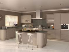 cashmere kitchen with grey quartz worktop - Google Search