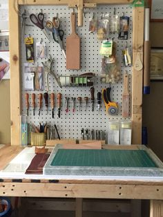 My custom made work bench for my leather work The marble block is a good idea Leather Working Tools, Leather Craft Tools, Leather Projects, Leather Carving, Leather Tooling, Workshop Storage, Tool Storage, Workshop Studio, Leather Workshop