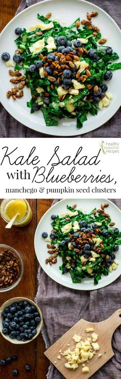 kale salad with blueberries, manchego and pumpkin seed clusters - Healthy Seasonal Recipes