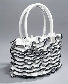 Items similar to Icing on the Cake Black and White Leather Ruffle Handbag Made to Order by Stacy Leigh on Etsy Cute Purses, Purses And Bags, Handbag Cakes, Purse Cakes, Shoe Cakes, 3d Cakes, Girly Cakes, Fashion Cakes, Diy Fashion