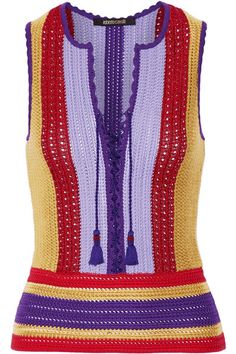 Multicolored crochet-knit  Slips on 84% cotton, 12% viscose, 4% polyester Dry clean Made in Italy