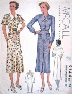 Vintage 1930s Dress Pattern Slim McCalls 9144 Plus Size Full Figure Bust 44