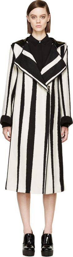 Acne Studios: Black & White Jacquard Striped Hooded Tria Coat