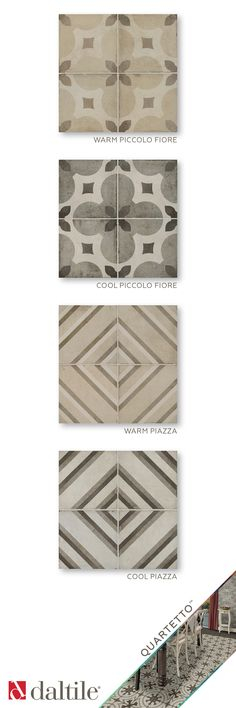 Quartetto in Warm and Cool Piccolo Fiore, and Warm and Cool Piazza.