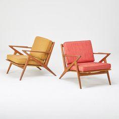 Paul Jensen; Selig, Pair of lounge chairs, Denmark, 1960s Sculpted teak, beech, upholstery