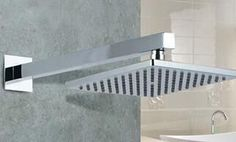 """Wall Mounted Bathroom Brass Shower Arm ABS 8"""" Square Shower Head Shower Hose Stainless Steel"""