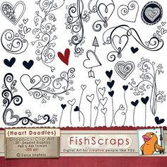 Sale 40% Heart Doodle Clip Art - Photoshop Brushes & Printable ClipArt - Digital Stamps - Love - Flourishes - Valentine clipart