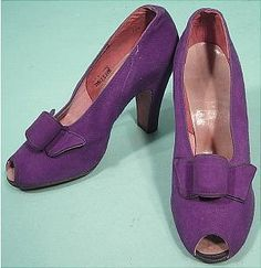 1942 Purple Suede Open Toe Pumps. Beautiful!