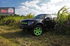 Ford Raptor with HRE TR46 in Brushed Satin Green by HRE Wheels. Click to view more photos and mod info.