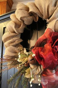 Burlap Wreath with Red Bow 24 inches by SuzyPetalPusher on Etsy $65