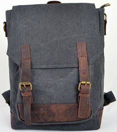 ZENNESS NEW FASHIONABLE GENUINE LEATHER & CANVAS CASUAL BACKPACK SCHOOL BAG FOR BOYS AND GIRLS (GRAY) - Click image twice for more info - See a larger selection of Girls teen  backpacks at http://kidsbackpackstore.com/product-category/teen-girls-backpacks/ - kids, juniors, back to school, kids fashion ideas, teens fashion ideas,  school supplies, backpack, bag , teenagers,  boys, gift ideas