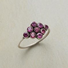 Raspberry Effervescence Ring: Dark oxidation between fused bezels enhances the deep pink sparkle of rhodolite garnets. A Jane Diaz ring design in sterling silver, handmade in whole sizes 5 to Handmade Rings, Handmade Sterling Silver, Sterling Silver Rings, Sundance Jewelry, Custom Jewelry, Unique Jewelry, Women's Jewelry, Gold Jewellery, Jewelry Armoire